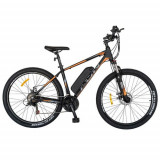 Bicicleta electrica MTB CARPAT I1008E, roti 27.5inch, motor 250W, autonomie 60km, cadru 18inch aluminiu, frane mecanice disc, 21 viteze (Negru/Portoca