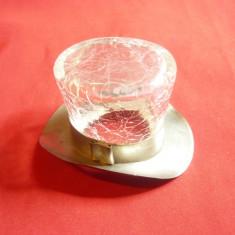 Miniatura- Joben din sticla si alpaca argintata Art-Deco h=3,7cm ,are fisuri din