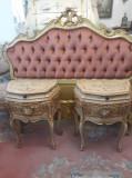 Pat 1 persoana/single(2 copii),cu noptiere baroc venetian/vintage/antic/rococo, Paturi si seturi dormitor, Dupa 1950