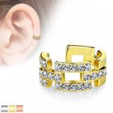 Piercing fals pentru ureche - contururi aliniate de dreptunghiuri incrustate cu zirconii - Culoare Piercing: Auriu
