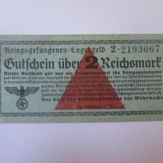 Rara! 2 Reichsmark 1939-1945,bancnota circulata in lagarele prizonieri Germania