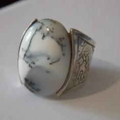 Inel argint vintage cu agata dentritic  -7044