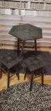 mobila vintage masa scaune decor sculptate negru