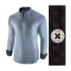 Camasa pentru barbati albastru jeans slim fit casual Business Class Extra