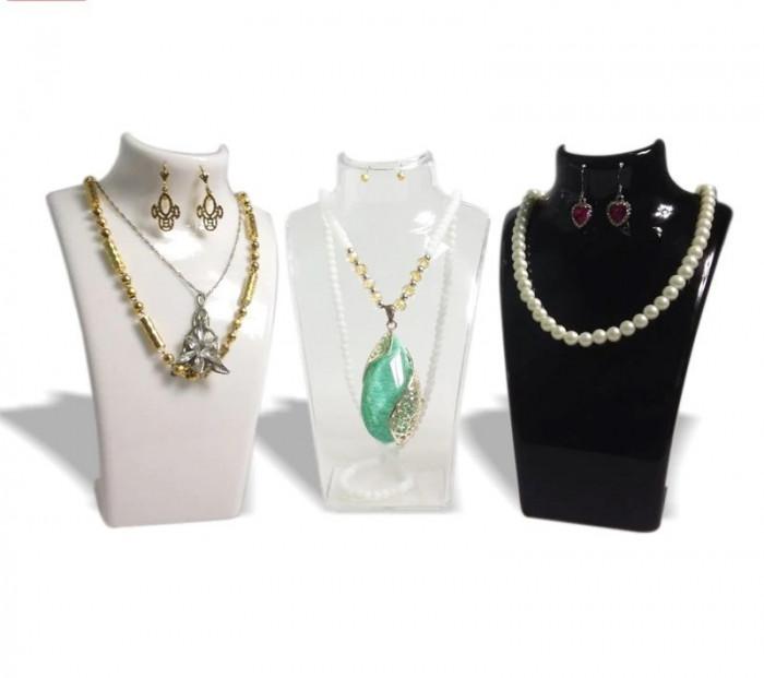 Bust expunere bijuterii acrilic transparent / alb / negru