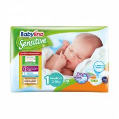 Scutece Babylino Sensitive, N1, 2-5 kg, 28 buc.