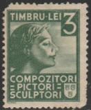 1940 Romania - Timbru fiscal 3 Lei verde pentru Compozitori, pictori, sculptori