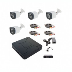 Kit sistem supraveghere complet 4 camere exterior 1.3MP ccd Sony starlight 30m IR color noaptea