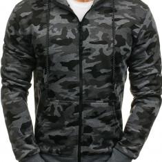 Bluză pentru bărbat cu glugă și fermoar camuflaj-grafit Bolf DD129