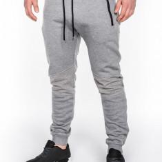 Pantaloni pentru barbati gri deschis fermoare decorative banda jos cu siret bumbac p465