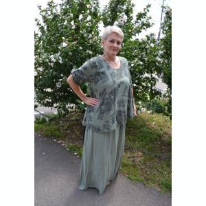 Rochie de vara culoare de kaki cu imprimeu gri