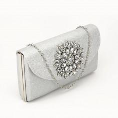 Geanta clutch argintiu Bella