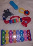 Lot 5 JUCARII Vintage copii,xilofon,masinuta,clarinet,avion,zanganitore,folosite