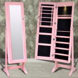 Cumpara ieftin Cabinet roz pentru bijuterii cu suport, oglindă și lampă LED