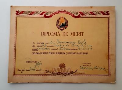 Diploma de merit - perioada R.P.R. - Invatamant foto