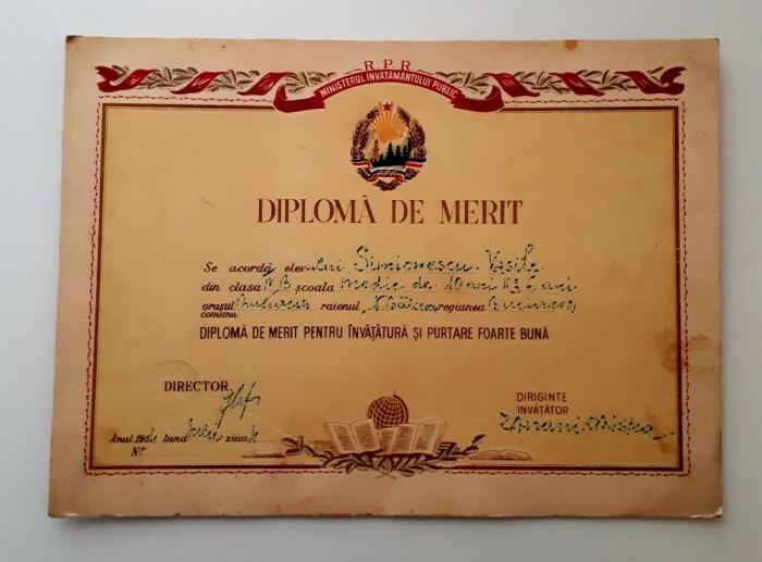 Diploma de merit - perioada R.P.R. - Invatamant