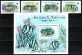 Barbuda 1987 WWF, Mi #953-956 + Bl 121**, pesti, MNH, cota 500 €! FOARTE RARE!!!, Natura, Nestampilat