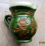 Cana de lut smaltuit.Olarie romaneasca.Art Deco Sgraffito..