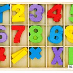 Joc Educativ de Matematica cu Cifre si Semne din Lemn + Cutie Lemn