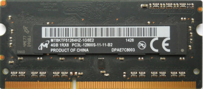 Memorii Ram laptop Micron 4GB PC3L-12800 DDR3-1600 1.35V APPLE IMAC foto