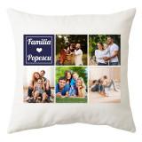 Perna personalizata patrat alba familie cu 5 poze