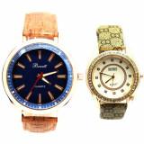 Cumpara ieftin Pachet ceas barbatesc elegant Benett auriu, curea maro deschis + ceas elegant...