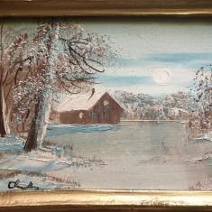 Pereche de tablouri vechi franceze,ulei pe placaj,rama din lemn