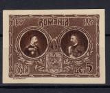 ROMANIA 1927 CINCANTENARUL INDEPENDENTEI - ESEU PE HARTIE SEMIGROASA, Nestampilat