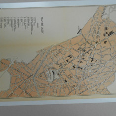 Harta Iasi, 1920, 35x21 cm, Drotleff Sibiu, limba franceza, superba