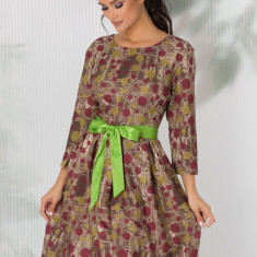 Rochie Dora kaki cu buline verzi si cordon in talie