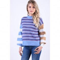Pulover Gros Vero Moda Iva Stripe O-Neck Albastru