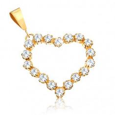 Cumpara ieftin Pandantiv din aur 375 - contur de zirconii transparente al unei inimi simetrice