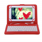 Husa Tableta 9.7 Inch Cu Tastatura Micro Usb Model X , Rosu C18