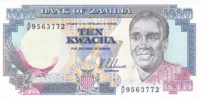 Bancnota Zambia 10 Kwacha (1989) - P31a UNC foto
