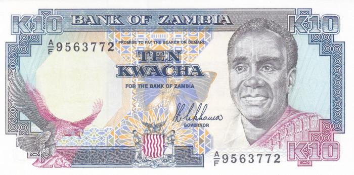 Bancnota Zambia 10 Kwacha (1989) - P31a UNC