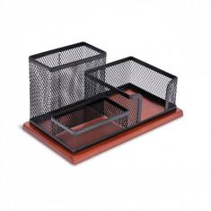 Suport din metal si lemn pentru birou, model cu 3 compartimente, negru/maro