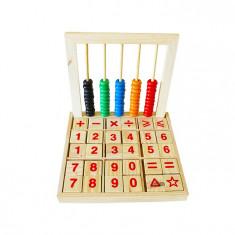 Numaratoare Abacus din lemn cu bile si cuburi