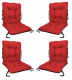 Set 4 Perne sezut/spatar pentru scaun de gradina sau balansoar, 50x50x55 cm, culoare rosu, Palmonix