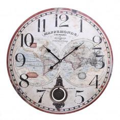 Ceas de perete din lemn cu pendul Atlas 58 cm