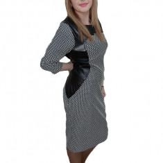 Rochie chic, nuanta de negru-alb, insertii de piele fine, 42, 44, 46