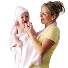 Prosop de baie pentru bebelus si mama roz Clevamama for Your BabyKids