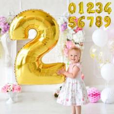 Balon folie gigant, forma cifra, inaltime 102 cm, auriu metalizat