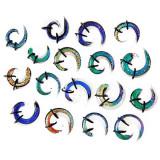 Expander – spirală din sticlă multicoloră, cu benzi de cauciuc - Lățime: 8,5 mm, Culoare Piercing: Transparent - Verde