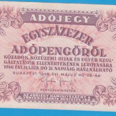 (6) BANCNOTA UNGARIA - 100.000 ADOPENGO 1946 (28 MAI 1946)