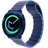 Cumpara ieftin Curea piele Smartwatch Samsung Gear S3, iUni 22 mm Blue Leather Loop