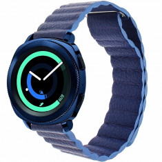 Curea piele Smartwatch Samsung Gear S3, iUni 22 mm Blue Leather Loop