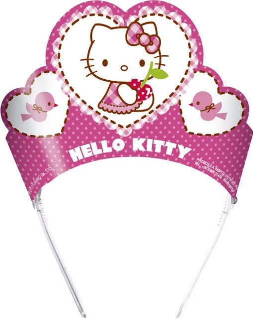 Coronite Tiara cu pisicuta Hello Kitty Hearts set 6 buc
