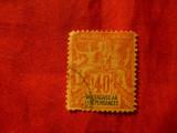 Timbru Madagascar 1896 , 40C rosu / timbru Alegorie Franta ,stampilat