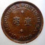 7.786 MACAO MACAU COLONIE PORTUGHEZA 10 AVOS 1952, Asia, Bronz