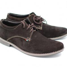Pantofi barbati maro, casual - eleganti din piele naturala intoarsa - VELM